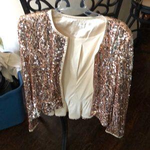 Gold sequin Boston Proper jacket size 12